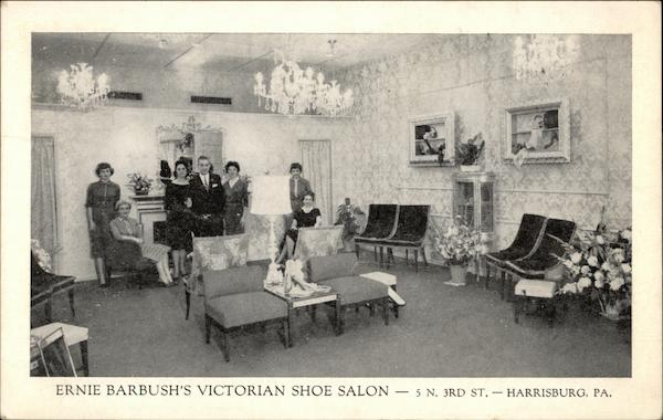 Ernie barbush 39 s victorian shoe salon harrisburg pa postcard for Abaca salon harrisburg pa