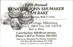 Fifth Annual Senator John Shumaker Clam Bake