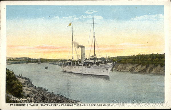 President's Yacht (Mayflower) Passing Through Cape Cod Canal Massachusetts