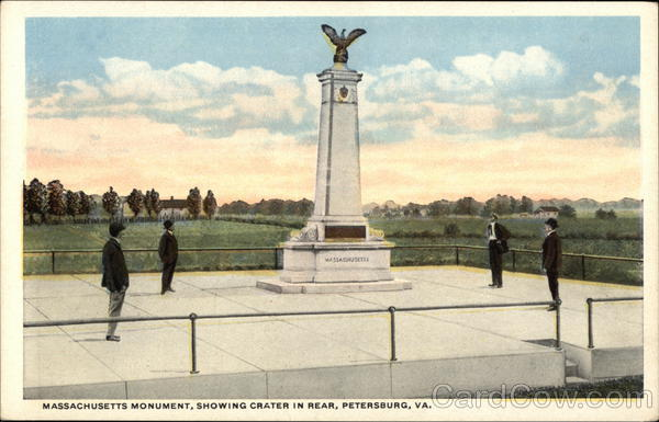 Massachusetts Monument Showing Crater in Rear Petersburg Virginia