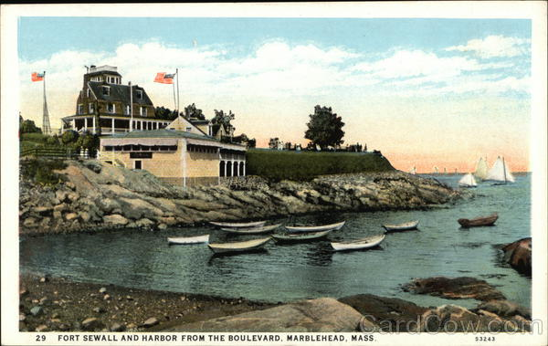 Fort Sewall and Harbor from the Boulevard Marblehead Massachusetts