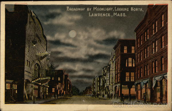 Broadway By Moonlight Looking North Lawrence Massachusetts