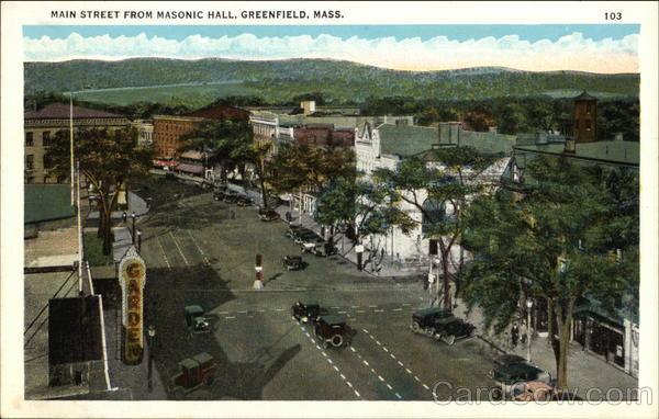 Main Street from Masonic Hall Greenfield Massachusetts