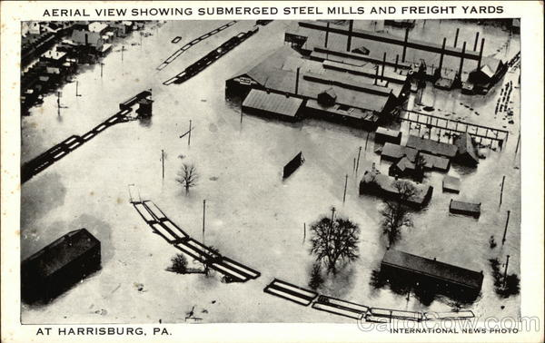 Aerial View Showing Submerged Steel Mills and freight Yard Harrisburg Pennsylvania