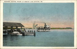 Steamer Leaving Wharf at Sebago Lake Station Postcard
