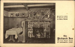 Booth and Fireplace in the Grill Room, The Pickwick on the Post Postcard