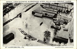 Aerial View Showing Submerged Steel Mills and freight Yard