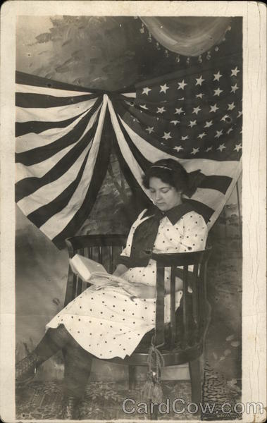 Portrait of Woman and Flag Women