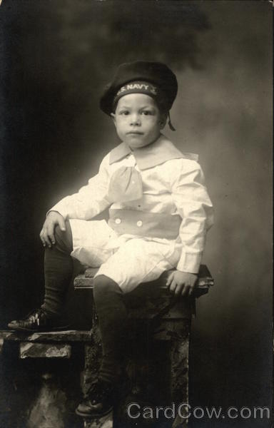 Portrait of Boy In Navy Uniform Binghamton New York