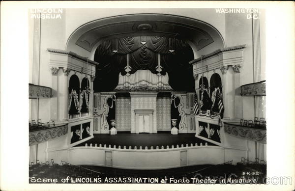 Scene of Lincoln's Assassination at Ford's Theater in Miniature Washington District of Columbia