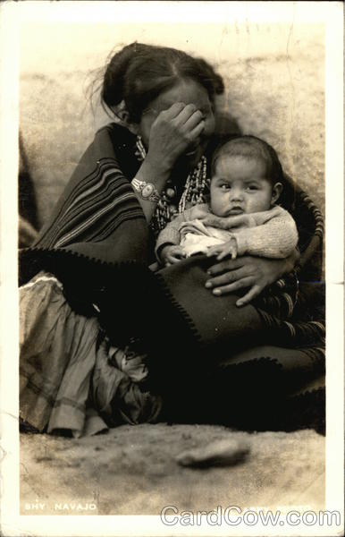 Indian Mother & Baby Shy Navajo Arizona Mullarky Photo