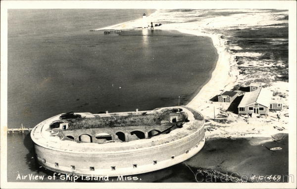 Air View of Ship Island, Fort Massachusetts Mississippi