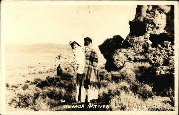 Native American Woman and Child in the Nevada Desert