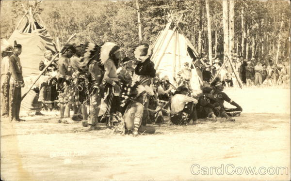 Indians Meeting Outside Teepees Native Americana