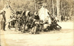 Indians Meeting Outside Teepees