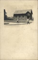 Children Walking by Church