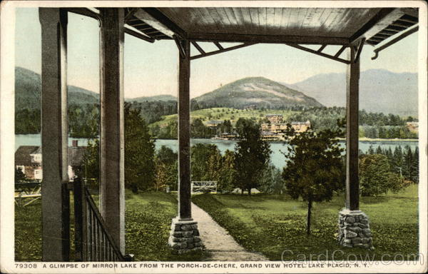 A Glimpse of Mirror Lake from the Porch-de-Chere, Grand View Hotel Lake Placid New York