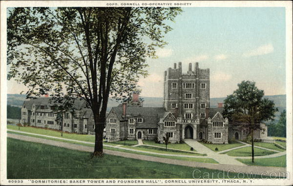 Dormitories: Baker Towerand Founders Hall, Cornell University Ithaca New York