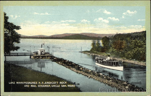 Endicott Rock and Mail Steamer, Uncle Sam, Weirs Laconia New Hampshire