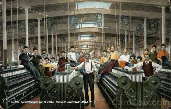Ring Spinners in a Cotton Mill Fall River Massachusetts