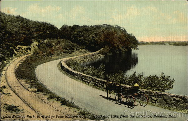 Lake Nicmuc Park, Bird's-Eye View of Shore Drive, Railroad and Lake from Entrance Mendon Massachusetts
