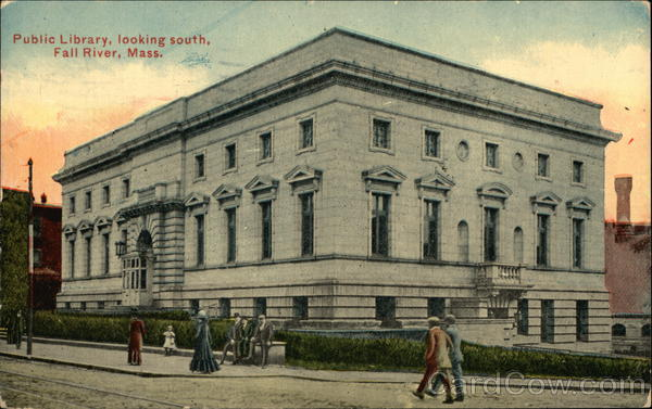 Public Library, looking south, Fall River, Mass. Massachusetts