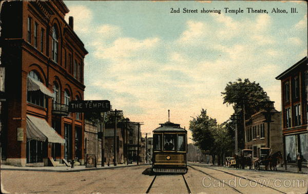 2nd Street showing Temple Theatre Alton Illinois