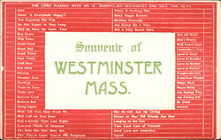 Souvenir of Westminster, Massachusetts Postcard