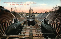 "Mother Boat ""Fortune"" and Submarines in Dry Dock, Navy Yard"