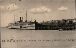 E.S. Ship Co.'s Dock Showing Str. City of Bangor