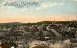 Bird's-Eye View of B. & M. Railroad Yard, Showing Freight Depot and Passenger Station