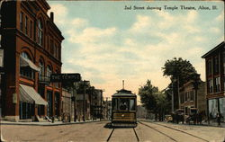 2nd Street showing Temple Theatre Postcard