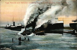 Tugs Record and Sinclair Beaking Ice in Duluth Harbor