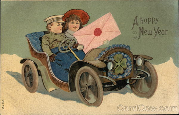 A Happy New Year - Boy and Girl in Open Car Children