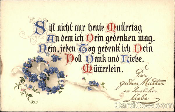 German Mother's Day Card Greetings