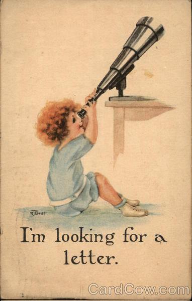 I'm Looking For A Letter - Child Looking Through Telescope