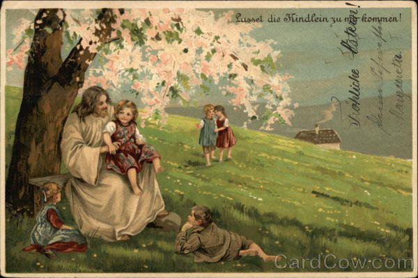 Jesus with Children in a Field - German Language Religious