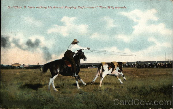 Roping Cattle by Chas. B. Irwin Cowboy Western