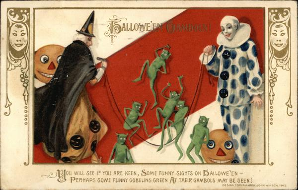 Rare Witch, Goblins and Jester Jumping Rope Samuel L. Schmucker