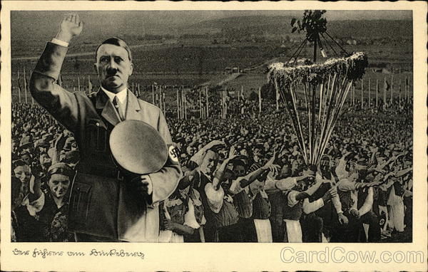 Adolph Hitler -Superimposed Over Saluting Crowd Nazi Germany
