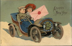 A Happy New Year - Boy and Girl in Open Car