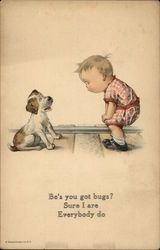 Little Boy Conversing with Puppy on Railroad Tracks