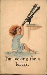 """I'm Looking For A Letter"" - Child Looking Through Telescope"