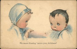 Young Girl Pointing at Boy Saying, No More Kissing 'Cause You Slobber!