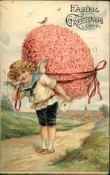 Easter Greetings - Boy Walking With Large Pink Egg on Back