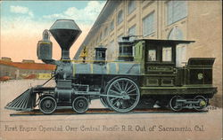 First Engine Operated Over Cenntral pacific R.R. Out Of Sacramento, Cal.