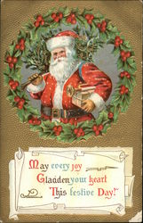 May Every Joy Gladen Your Heart This Festive Day! - Santa With Tree and Toys
