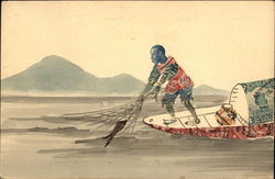 Chinese Fisherman On Boat of Postage Stamps