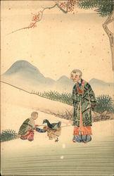 Chinese Man Watching Boy Feeding Ducks