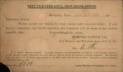 Correspondence Card From Memphis Coffin Co.